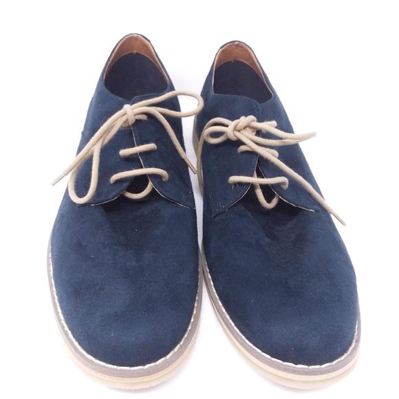Hm Oxford Casual Blue Suede Shoes Men